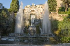 Fountain at Villa D `este in Tivoli on a Sunny summer day. The attraction of the city in Italy royalty free stock photography