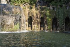 Fountain at Villa D `este in Tivoli on a Sunny summer day. The attraction of the city in Italy stock photography