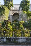 Fountain at Villa D `este in Tivoli on a Sunny summer day. The attraction of the city in Italy stock image
