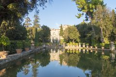 Fountain at Villa D `este in Tivoli on a Sunny summer day. The attraction of the city in Italy royalty free stock photos