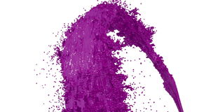 Fountain of violet paint like car paint on white background with alpha matte use it like alpha channel. version 4. Fountain of violet paint like car paint on stock footage