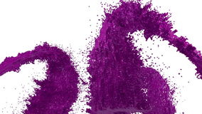 Fountain of violet paint like car paint on white background with alpha matte use it like alpha channel. version 3. Fountain of violet paint like car paint on stock video