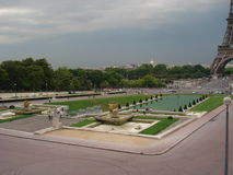 Fountain of Warsaw. In front of  Palais de Chaillot provides a foreground to the Eiffel Tower Stock Image