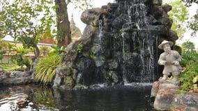 Fountain in wat pho, bangkok stock footage