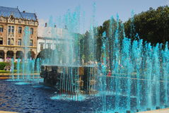 FOUNTAIN water colored with blue,ROMANIA. Romania,SATU MARE - FOUNTAIN water colored with blue royalty free stock images