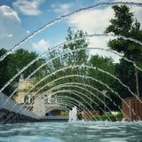 Fountain water lines perspective view stock photography