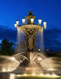 Fountain, Water, Night, Evening Stock Photo