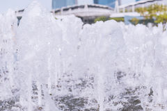 Fountain water spout spray in luxury basin or The gush of water. In fountain Stock Photography