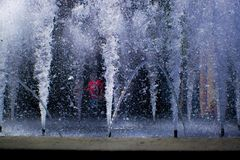 Fountain. Water Spurt Blue royalty free stock photo