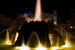 Fountain. Water fountain in square of slovak national uprising in Banska Bystrica. Historical monument. Travel destination Royalty Free Stock Photo