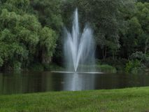 Fountain, water, stream, green, forest royalty free stock photos