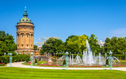 Fountain and Water Tower on Friedrichsplatz square in Mannheim - Royalty Free Stock Photography