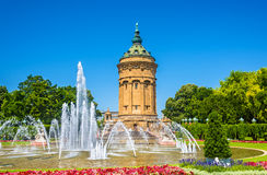 Fountain and Water Tower on Friedrichsplatz square in Mannheim  Royalty Free Stock Images