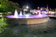 Fountain on waterfront of Yalta city in night Stock Photo