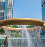 Fountain of Wealth in dusk. Landmark of Singapore Royalty Free Stock Photography