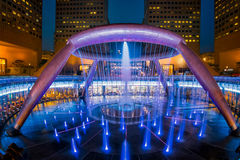 Fountain of Wealth. The Fountain of Wealth is listed by the Guinness Book of Records as the largest fountain in the world. It is located in one of Singapore`s royalty free stock photo