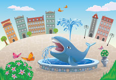 A fountain with a whale in the town square. Vector illustration of a fountain with a blue whale in the town square Stock Photo