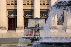 Fountain of  Wiesbaden Spa house Stock Images