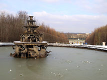 Fountain during the winter in the gardens of the Royal Palace of Stock Image