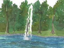 Fountain with Woman Painting. Watercolor painting of a fountain shaped like a nude woman in a lake Stock Photography