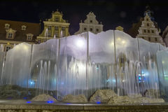 Fountain in Wroclaw at night Royalty Free Stock Images