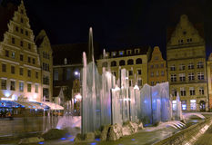 Fountain in Wroclaw at night Royalty Free Stock Photos
