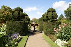 Fountain. yew topiary. topiary trees. garden Stock Photo