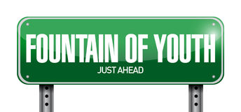 Fountain of youth road sign illustration Stock Photography