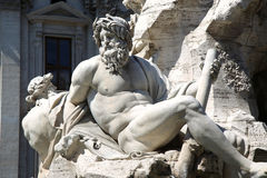 Fountain Zeus in Bernini's, Piazza Navona in Rome, Italy. Fountain Zeus in Bernini's, dei Quattro Fiumi in the Piazza Navona in Rome, Italy Royalty Free Stock Image
