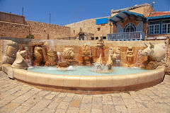 Fountain with zodiac signs, Old Jaffa, Tel Aviv, Israel. Royalty Free Stock Photography