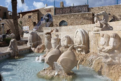 Fountain zodiac signs. Tel Aviv. Fountain Zodiac is a bizarre and certainly very original sculptural composition in the ancient square in Jaffa Kikar Kedumin stock photos