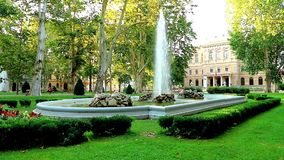Fountain in Zrinjevac park in Zagreb on a sunny day. In Croatia stock video footage