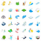 Fountaine icons set, isometric style. Fountaine icons set. Isometric style of 36 fountaine vector icons for web isolated on white background Stock Photography