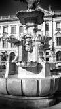 Fountaine Künstlerischer Blick in Schwarzweiss Lizenzfreies Stockfoto