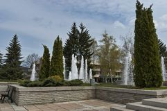 Fountainin like natural spring in the central square. Of Pravets (Pravetz) town, Bulgaria royalty free stock images