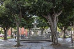 Fountainin un jardín en Santa Cruz, en Tenerife foto de archivo libre de regalías