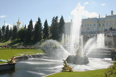 Fountains. Peterhof. Great cascade. Fountains Stock Images