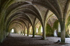 Fountains Abbey. Approach from the eastside of Studley Royal Water Garden Park Stock Image