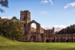 Fountains Abbey. Beautiful landscape Fountains Abbey in October stock photography