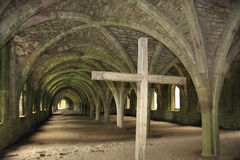 Fountains Abbey Cellarium. Fountains Abbey near to Ripon in North Yorkshire, England. The remains of a Cistercian monastery, and the largest Abbey ruins in Royalty Free Stock Image