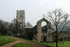 Fountains Abbey. Foggy morning in January. Stock Images