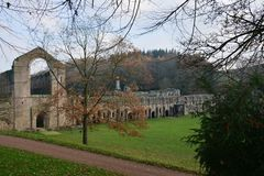 Fountains Abbey Iconic Site Ripon. Fountains Abbey preserved ruins of Cistercian Monastery in North Yorkshire. World heritage Site near Ripon stock image