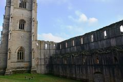 Iconic Fountains Abbey in North Yorkshire. Fountains Abbey preserved ruins of Cistercian Monastery in North Yorkshire. World heritage Site near Ripon royalty free stock photos