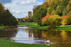 Fountains Abbey and Studley Royal Water Garden. In October stock photography