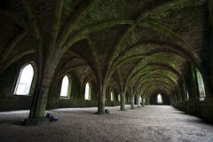 Fountains abbey underground arches Royalty Free Stock Images