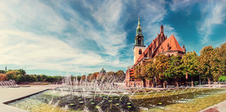 Fountains on Alexanderplatz in front of St. Mary's Church, Berli Royalty Free Stock Photography