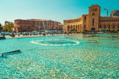Fountains and architectural complex on Republic Square. Touristic architecture landmark. Sightseeing in Yerevan. City tour. Govern. Ment House. Travel and royalty free stock photography