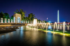 Fountains At The National World War II Memorial And The Washington Monument At Night, At The National Mall, In Washington, DC. Royalty Free Stock Photography