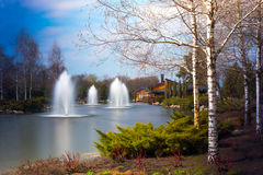 Fountains and beautiful scenery stock photography