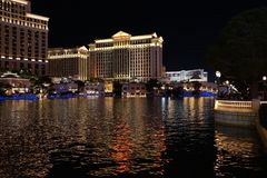 The Fountains Of Bellagio 49. Bellagio is a resort, luxury hotel and casino on the Las Vegas Strip in Paradise, Nevada. It is owned and operated by MGM Resorts royalty free stock image
